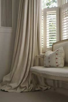 Modern Country Style: Swedish/French Style Victorian House Tour Click through for details. Shutters With Curtains, Cafe Shutters, Long Curtains, Window Shutters, Bay Window, Modern Country Style, French Country Bedrooms, Country Interior, Beautiful Bedrooms