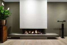Fireplace by Weldor Home Room Design, Artificial Fireplace, Modern Bedroom Design, Home Fireplace, Apartment Interior Design, Fireplace Design, Kitchen Room Design, Living Room Decor Modern, Modern Fireplace