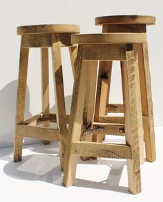 Bar Stool Rustic Reclaimed Barn Wood Raw w/Round Top by Keeriah
