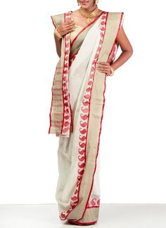 Appealing Off White Bengal Cotton Saree