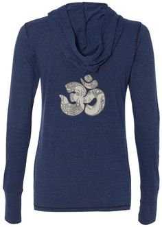 "Ladies GANESHA OM Tri-Blend Hoodie, 2XL Navy (mid-back print). The great Ganesh and the sacred OM come together on a this cool ladies hoody shirt!. Moisture wicking pullover has thumb holes on the cuffs. 50 Polyester - 38% Cotton - 12% Rayon. Image appears on the ""back"" of the garment. There is no print of the front. ""Yoga Clothing for You"" guarantees your satisfaction on every purchase!."