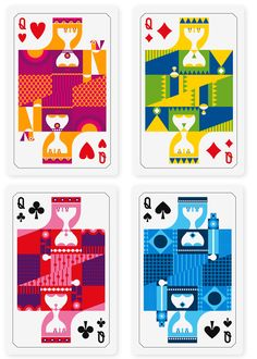 Four queen cards designed for Pictoplasma's PicTarot deck of cards