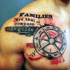 Family Chest Tattoo - Compass