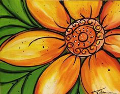 """""""Mexican Sunflower"""", Wine n Paint painting, SOLD"""