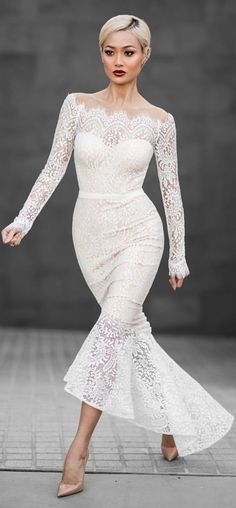 #summer ##fashion #lovely #outfits | White Lace Maxi Dress