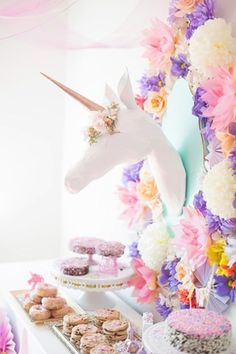 21 party themes projects and DIYs for all your spring get-togethers! 21 party themes projects and DIYs for all your spring get-togethers! 21 Party, Party Time, Rosa Desserts, Pink Desserts, Pony Party, Unicorn Birthday Parties, Girl Birthday, Birthday Ideas, Half Birthday