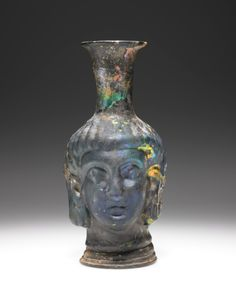The Ancient Way of Life — ~ Mold-blown Head flask. Rome, Getty Museum, Antique Glassware, Minoan, Classic Image, Ancient Artifacts, Ancient Romans, Ancient History, Great Artists
