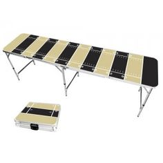 Black & Light Gold Football Field 8 Foot Portable Folding Tailgate Beer Pong Table from TailgateGiant.com