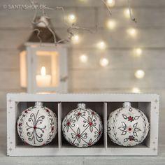 Sæt med 3 julekugler i creme hvid