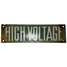 Vintage Green Porcelain High Voltage Sign ($82) ❤ liked on Polyvore featuring home, home decor, wall art, signs, vintage signs, porcelain wall art, green signs, photo sign and green wall art