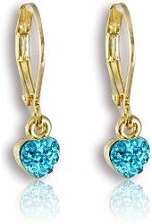 Young Girls Jewelry: Fashion Jewelry for Girls, 14K Gold Plated Heart Leverback Earrings - Dangle Earrings for Kids