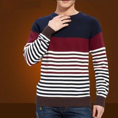 Mens Striped Sweater Knitting Pattern 2015 New Autumn Hedging Thick Sweater Men's Round Neck Preppy Style Casual Sweaters Men