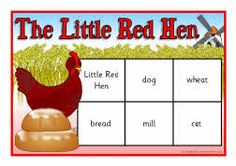 The Little Red Hen bingo game.