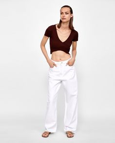 Image 1 of RIBBED WRAP TOP from Zara