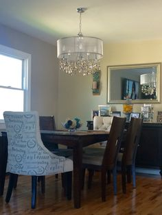 Newly Decorated Dining Room With Mix Matched Chairs On The End. Bennington  Gray Left Wall. Bennington GrayGrant BeigeTransitional ChandeliersTufted ...
