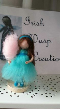 Hand felted fairy with candy floss - for more check out the Irish Wasp Creations facebook page at https:// m.facebook.com/Irishwaspcreations/