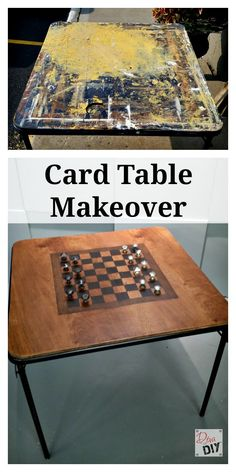 Create an amazing game table with a dumpster-bound card table. The stained checkerboard and salvaged cabinet door knobs add unexpected character.