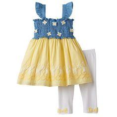 Toddler Girl Nannette Smocked Chambray Butterfly Tunic & Leggings Set, Yellow Oth