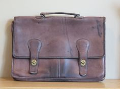 Rugged 1970's NYC Vintage Coach Brown Distressed Daliesque Leatherware Brief Bag No 998-4316- Made in New York City U.S.A.