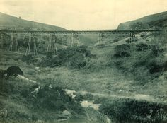 Inchanga Viaduct that was used from 1880 - 1892 and dismantled in This photo shows the viaduct with the Inchanga Station behind the photographer. Steam Railway, Rolling Stock, Vehicles