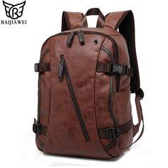 BAIJIAWEI Fashion Men PU Leather Backpacks //Price: $31.99 & FREE Shipping //     #hashtag1