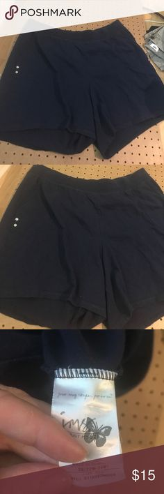 Just my size navy blue shorts. Size 3X(22W-24W) Just my size navy blue shorts, size 22-24W, pockets on each side with silver button detail on each side. Just My Size Shorts