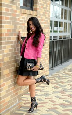 Leather Mini Skirts, Sexy High Heels, Street Fashion, Skater Skirt, Babe, Ootd, Style Inspiration, Inspired, Woman