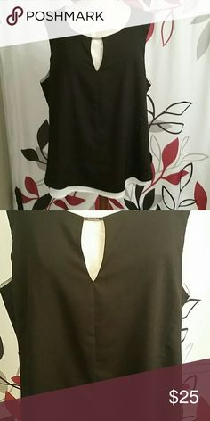 Sleeveless Calvin Klein blouse. Adorable top that fits great on all body types. Polyester fabric with a silky feel. Double layered with a silver CK embellishment at neck line. Slightly lower in the back. Worn once. Calvin Klein Tops Blouses