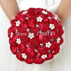 met de hand gemaakt top kwaliteit kralen broche zijde bruid boeket bruiloft bruids bruidsmeisje europa ons rode roos kunstbloem sp8544(China (Mainland))