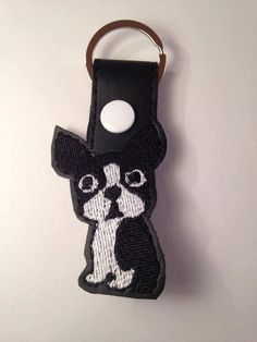 Boston Terrier Keyfob design for machine embriodery by NortyUnicorns on Etsy
