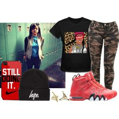 A fashion look from July 2013 featuring t shirts, nike shoes and gold earrings. Browse and shop related looks.