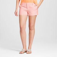 Women's 3 Neon Texture Chino Shorts - Merona Neon Orange 12