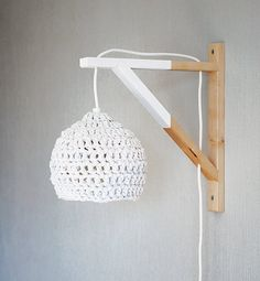 dipped wood wall lamp with crocheted lampshade / white