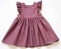 Linen Pinafore Dress - Plum Classic Vintage Boho Baby Toddler Girl Spring Easter Wedding Matching sister