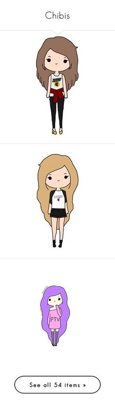"""""""Chibis"""" by peripierce ❤ liked on Polyvore featuring fillers, tumblr, girls, home, home decor, drawings, chibis, other, backgrounds and quotes"""