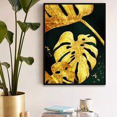 Diy Canvas Art, Abstract Canvas, Scandinavian Paintings, Diy Painting, Painting Canvas, Gold Leaf Art, Cheap Paintings, Tropical Art, Wall Art Pictures