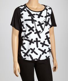 Take a look at this Black & White Cross Top & Necklace - Plus on zulily today!