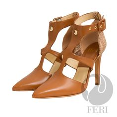 FERI Designer Heels- Napa leather pump with stiletto heel - Napa leather sole and insole - Colour: Brown with beige snake skin printed leather heel accent Ankle Heels, Stiletto Heels, Runway Shoes, Napa Leather, Classy Men, Gold Price, Designer Heels, Leather Pumps, Snake Skin