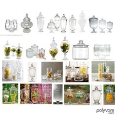 Candy Jars, created by toriejayne Fruit Tables, Candy Buffet Tables, Dessert Buffet, Candy Table, 50th Birthday Themes, Glass Candy Jars, Apothecary Jars, Through The Looking Glass, Event Decor