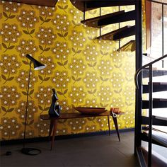 Giant Rhodedendron by Orla Kiely - Brown / Yellow - Wallpaper : Wallpaper Direct Retro Wallpaper, Trendy Wallpaper, Pattern Wallpaper, Wallpaper Online, Wallpaper Ideas, Mustard Wallpaper, Bedroom Wallpaper, Floral Vintage, Vintage Style