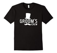Amazon.com: Groom's Crew Mustache & Top Hat Wedding Bachelor Party Shirt…