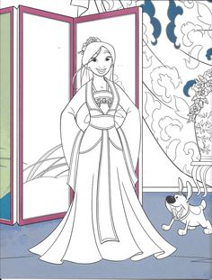 "Mulan and ""little brother"" Blank Coloring Pages, Barbie Coloring Pages, Disney Coloring Pages, Coloring For Kids, Coloring Sheets, Coloring Books, Disney Princess Colors, Disney Colors, Disney Crafts"