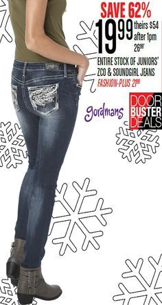 The cutest embellished jeans for a low price? Now that's a win win! Starting at $19.99... Check out our Black Friday ad online now!