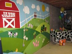 Playroom mural - this made a great backdrop for our Farm Theme Party!