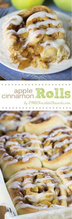 Apple Pie Cinnamon Rolls - OMG Chocolate Desserts
