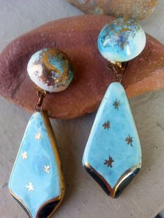 Vintage Turquoise Ceramic Clip Earrings, Aqua and Gold Ceramic Clip Earrings, Vintage Italian Glazed Ceramic Earrings, Aqua Clip On Earring by RomanticaUSA on Etsy
