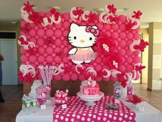 Balloon backdrop at a Hello Kitty party!  See more party ideas at CatchMyParty.com!