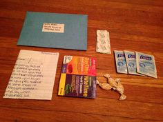 Open When You're Sick/Hurt- A letter (with natural sick remedies on the back), cough drops, band aids, hand sanitizer wipes, medicine. For My Navy Boyfriend. #pre deployment #navy #military love