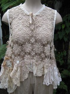 Vintage crochet pieces recycled into top; repurpose, upcycle, salvage! For…