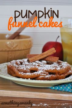 Pumpkin Funnel Cakes - The perfect combination of a classic fall flavor and the nostagia of a favorite fair treat! Köstliche Desserts, Delicious Desserts, Dessert Recipes, Yummy Food, Awesome Desserts, Dessert Healthy, Pumpkin Recipes, Fall Recipes, Holiday Recipes